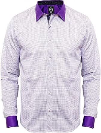 Jekyll and Hyde Mens Purple Clarence Shirt Ellis Dotted Design L/S Designer Purple X-Large