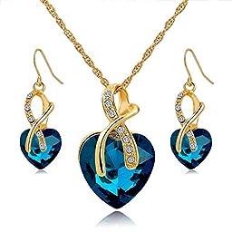 Long Way® Austrian Crystal Fashion Heart Jewelry Sets Necklace Earrings Wedding