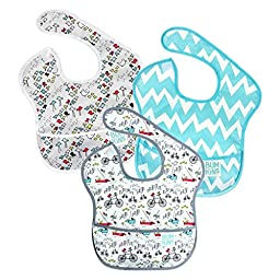 Bumkins Waterproof SuperBib 3 Pack, N15 (Urban Bird/Blue Chevron/Bird Park) (6-24 Months)