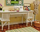Arrow Cabinet 1011 Florie Wicker Sewing Cabinet, White