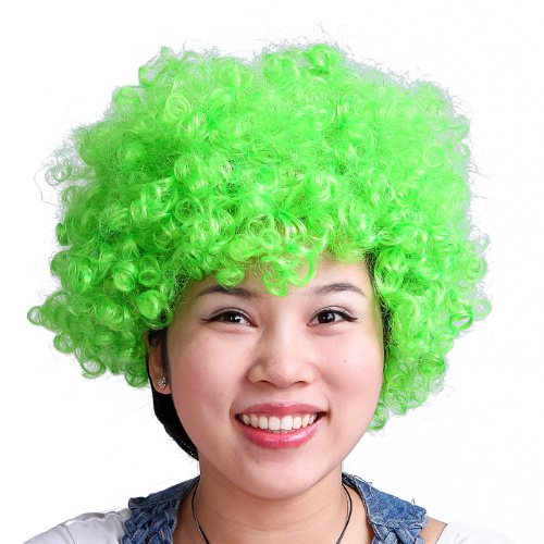 HDE Neon Color Afro Curly Clown Halloween Costume Party Wig Fake Goofy Unisex Hair (Lime Green)