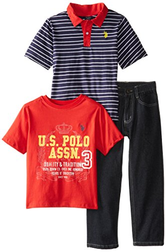 U.S. Polo Assn. Little Boys' 3 Piece Stripe Polo Graphic T-Shirt And 5-Pocket Denim Jean Set, Classic Navy, 4