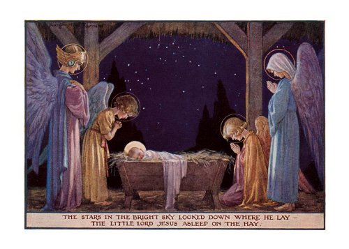 Angels at manger of Baby Jesus - Christmas Card