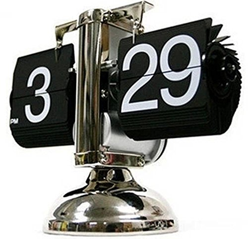 NHD-European retro home creative decorative clock, high-end machinery and auto-scrolling of the small scale desktop page clock pendulum 21*8*17cm , black