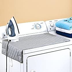 "Houseables Ironing Blanket, Magnetic Mat Laundry Pad, 32 1/2"" x 17"", Gray, Quilted, Washer Dryer Heat Resistant Pad, Iron Board Alternative Cover"