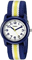 Timex Kids' TW7C058009J QA Blue Stainless Steel Watch With Blue Striped Band