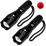 Tactical Flashlight, YIFENG 1600 LM Ultra Bright - CREE XML T6 LED Taclight As Seen On Tv with Adjustable Focus and 5 Light Modes for Camping Hiking Emergency (2 pack)