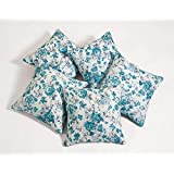 Swayam Drape And Dream Printed Cotton 5 Piece Cushion Cover Set - Turquoise (CC125-2711 )