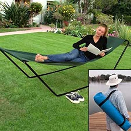 Take our easy to carry portable foldaway hammock with you anywhere-beach, camping, poolside, park and backyard. Great for sun bathing or a quick nap. Sturdy steel frame sets up quickly, PVC backed polyester sling is soft, comfortable and water resist...