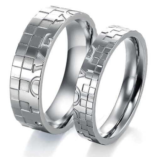 Opk Jewellery Wedding Stainless Steel Couple Ring Crystal Band Promise
