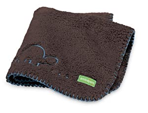Ambajam Mini Cuddle-Up Baby Blanket, Chocolate Brown/Blue