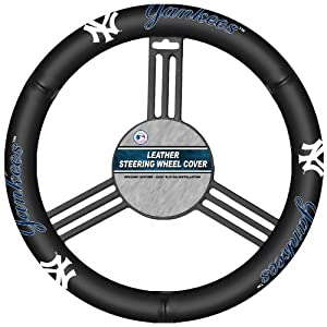 MLB New York Yankees Genuine Leather Steering Wheel Cover by Fremont Die