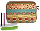 ColorYourLife Bundle of Canvas Fabric Laptop Sleeve Case Bag for Microsoft Surface 2 Surface Pro Surface RT and Sony Xperia Tablet Z / Asus Transformer Prime / Asus MeMO Pad Smart 10 / Acer Iconia A3 / Nokia Lumia 2520with 2 Stylus pens and Microfiber Cleaning cloths (Colorful Bohemian pattern, 10.8 inch)