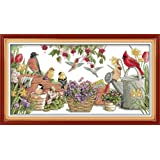 Cross Stitch Stamped Kits Quilt Pre-Printed Cross-Stitching Patterns for Beginner Kids Adults, Embroidery Crafts Needlepoint Starter Kits,Birds Gather in Garden 27''x15'' (Color: Printed Kits,Birds Gather in Garden)