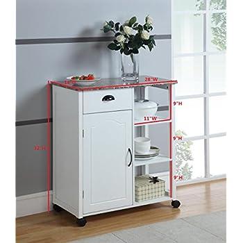 Kings Brand White Finish Wood & Marble Vinyl Top Kitchen Storage Cabinet Cart