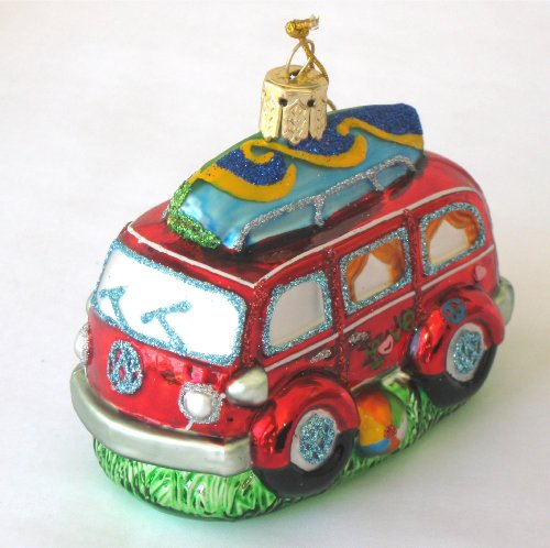 Blown Glass Van / Woody with Surfboard Ornament