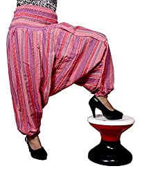 Cotton Aladdin Striped Genie Harem Beggy Pants Gypsy Trousers Free Size (Red)