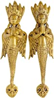 A Pair of Naga-Kanya Door Handles - An Auspicious and Protective Welcome - Brass Statue by Exotic India