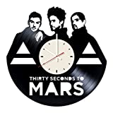 Thirty Seconds to Mars vinyl wall clock - handmade artwork home bedroom living kids room nursery wall decor great gifts idea for birthday, wedding, anniversary - customize your (White/White) (Color: White/White, Tamaño: 12 inches)