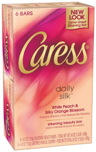 Caress Daily Silk Beauty Soap Bar for Unisex, 6 Count 4.0 Oz