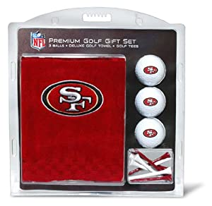 NFL San Fransisco 49ers Embroidered Golf Towel (3 Golf Balls 12 Tee Gift Set) by Team Golf