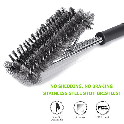 Grill Brush,Appmax Barbecue Grilling Accessories,BBQ Grill Brush,Barbecue Cleaning Brush with Wire Bristles and Soft Comfortable Handle,Stainless Steel Brushes in 1 for Char-broil