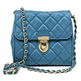 Prada BP0623 Papaya Turquoise Blue Impuntu Pattina Nylon and Leather Chain Crossbody Bag