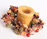 Set of 6 - Artificial Beads, Berries & Pine Cones Autumn Candle Rings or Napkin Rings for Fall Decorating -