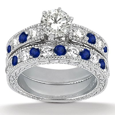 Ancient Diamond And Blue Sapphire Engagement Ring Set With Wedding Band Palladium 180ct GH VS Buy