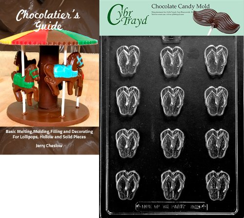 """Cybrtrayd """"Bite Size Flip Flops"""" Miscellaneous Chocolate Candy Mold With Chocolatier'S Guide Instructions Book Manual front-1035443"""