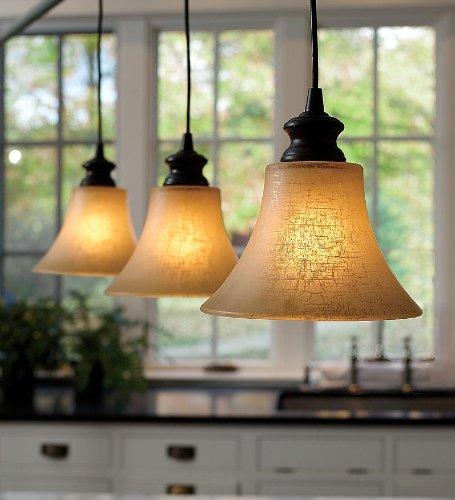 Easy-Install Textured Linen Glass Shade Pendant Lighting, in Bronze Finish