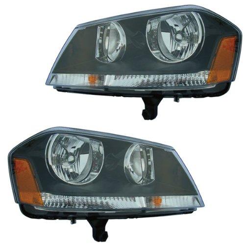 2008-2009-2010-2011-2012-2013 Dodge Avenger Rt R/T Headlight Headlamp Composite Halogen Front Head Light Lamp Set Pair Left Driver And Right Passenger Side (08 09 10 11 12 13)