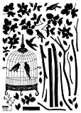 Nursery Easy Apply Wall Sticker Decorations - Parisian Spring Bird in Tree Silhouette
