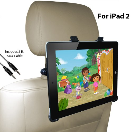 DBTech Headrest iPad 2 Car Mount - Fits all Cars - Great for Backseat Entertainment. Includes Bonus 3.5mm AUX Cable (6 ft.)