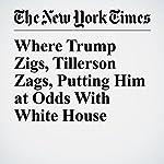 Where Trump Zigs, Tillerson Zags, Putting Him at Odds With White House | David E. Sanger,Gardiner Harris,Mark Landler