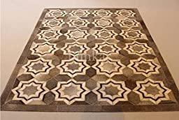 Handmade Natural Cowhide Leather Rug - Grey Stars (5\'x7\' (150cm x 210cm) L Area Rug)