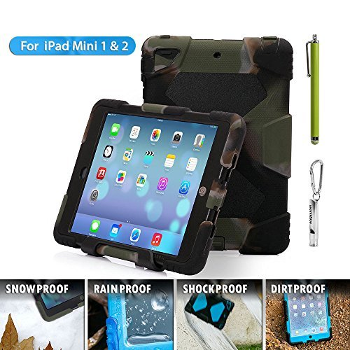 ACEGUARDER ipad mini 2/3 case for kids Rainproof Shockproof Waterproof Case for Apple Ipad Mini 3 Slim Military-Duty Case with Back Cover Standing [Army-Black] (Ipad Mini Standing Case compare prices)