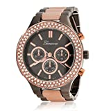 Bling Jewelry Geneva Gunmetal Stainless Steel Rose Gold Plated Boyfriend Watch