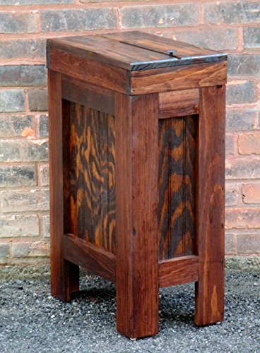 Wooden Wood Trash Bin Kitchen Garbage Can Rectangular 13 Gallon Solid Pine - Red Mahogony Stain - Rustic - Hand Made in USA (Kitchen Wood Trash Bin compare prices)