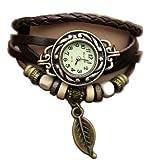 Marron Feuille Weave Wrap Around Montre - Bracelet cuir - Quartz Mode Rétro - Montre de femmes de dames + Gratuit Poche Caisse