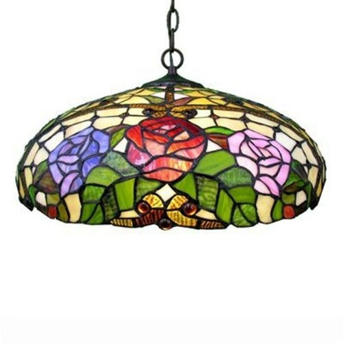 Warehouse of Tiffany 2-Light Bronze Hanging Pendant with Large Stained Glass