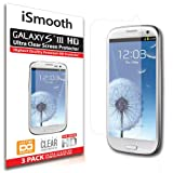 Samsung Galaxy S3 Screen Protector - NEW 2014 Ultra Premium HD Version - 3 PACK Ultra Clear - iSmooth - Free Lifetime Replacement Guarantee - Bubble Free Installation Guaranteed - Package Includes BONUS Premium Microfiber Cleaning Cloth, Four (4) Dust Removal Stickers, Installation Tips with Video, and Three (3) Ultra Clear Screen Protectors