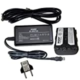 HQRP AC Power Adapter / Charger and Battery compatible with Sony Handycam DCR-TRV830E DCR-TRV840 DCR-TRV940E DCR-TRV950 Camcorder plus Euro Plug Adapter