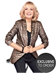 Twiggy for M&S Collection Open Front Longline Sequin Blazer
