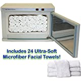 LCL Beauty High Capacity Hot Towel Cabinet/UV Sterilizer w/ 24 Ultra-Soft Microfiber Facial Towels