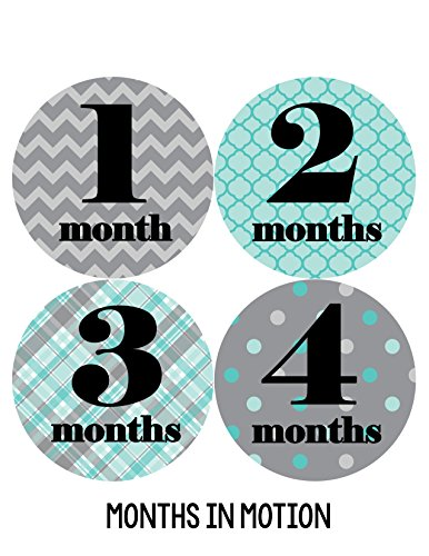 Months in Motion 088 Monthly Baby Stickers - Baby Boy - Month 1-12 - Milestone Age Sticker