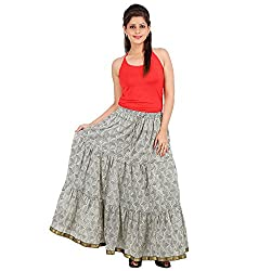 Stylish Grey Cotton long Printed Skirt