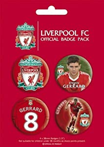 Posters: Soccer Badge Pack - F.C Liverpool, Steven Gerrard, 4 X 38mm Badges (6 x 4 inches) from 1art1 GmbH