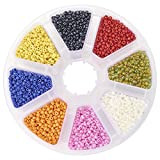 PandaHall Elite Small Tiny Round Glass Loose Spacer Beads 2mm Diameter Multi-color 1 Box