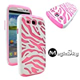 MagicSky Plastic Silicone Hybrid White Zebra Pattern Case for Samsung Galaxy III S3 i9300 - 1 Pack - Retail Packaging - Baby Pink